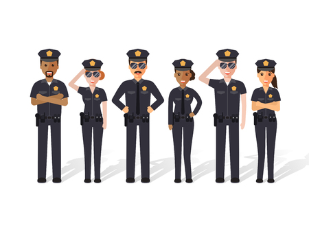 enforcement: Group of police officers, man and woman cops. Flat design people characters.