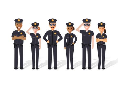 Groupe d'officiers de police, l'homme et les flics femme. gens design plat personnages.