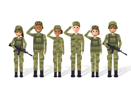 Group of US army, military people, man and woman soldiers. Flat design people characters.