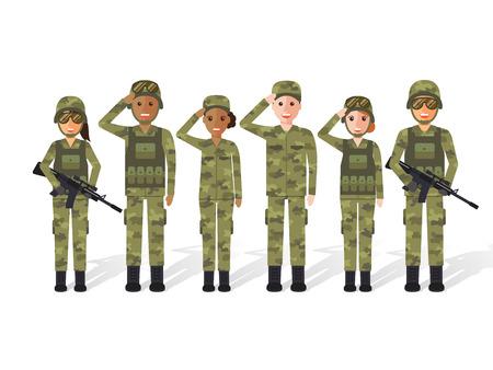 Grupo del ejército estadounidense, militares, hombres y mujeres soldados. Diseño plano personajes de personas.
