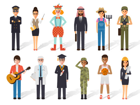 diversity: Set of diverse occupation profession people. Flat design people characters. Illustration