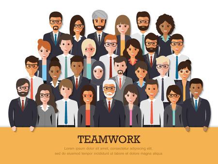 Groupe d'homme d'affaires et femme d'affaires gens au travail avec le travail d'équipe bannière sur fond blanc. Business team et le concept de travail d'équipe dans la conception plates personnes personnages. Vecteurs
