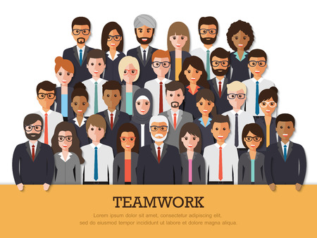 Group of businessman and businesswoman people at work with teamwork banner on white background. Business team and teamwork concept in flat design people characters.
