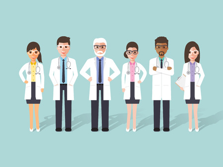 people  male: Group of male and female doctors, medical staffs. Flat design people characters.