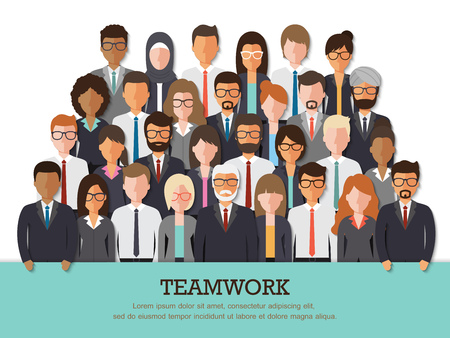 businessman in office: Group of businessman and businesswoman people at work with teamwork banner on white background. Business team and teamwork concept in flat design people characters.