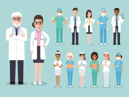 medical team: Group of doctors and nurses and medical staff people. Medical team concept in flat design people character set.