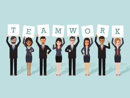 Group of businessman and businesswoman holding teamwork signs. Flat design people characters.