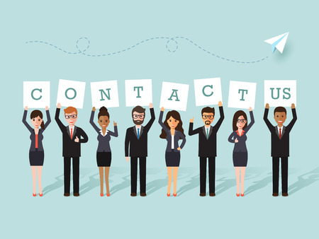 Group of businessman and businesswoman holding contact us signs. Flat design people characters. Illusztráció
