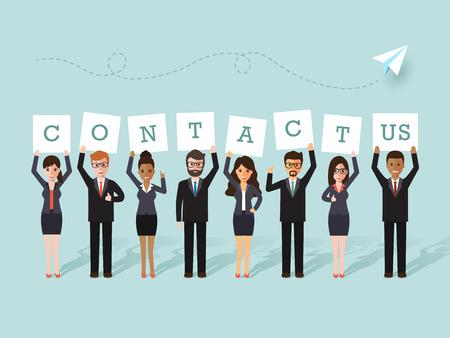 """Grupo de negocios y de negocios la celebración de """"contacto"""" signos. Diseño plano gente caracteres. Ilustración de vector"""
