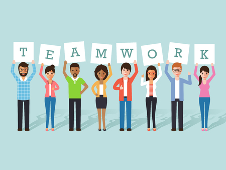 co: Group of businessman and businesswoman holding teamwork signs. Flat design people characters.