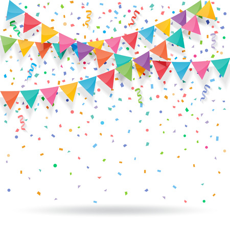 Colorful explode confetti with buntings and ribbons on white background. Confetti for birthday, carnival, celebration, anniversary and holiday party background. Ilustração