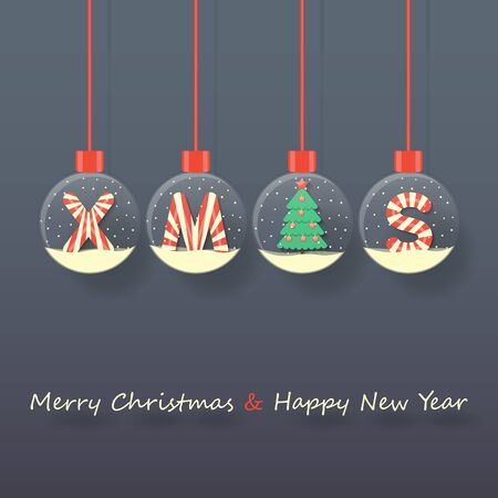 XMAS letters with Christmas tree in snow globes hanging on dark background. Ilustração