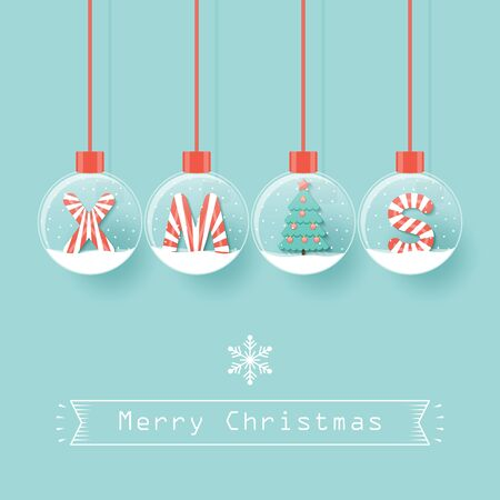 XMAS letters with Christmas tree in snow globes hanging on blue background. Ilustração