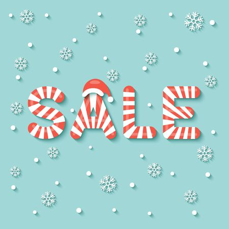 SALE sign in red and white Christmas sweet style on snow and snowflakes background.