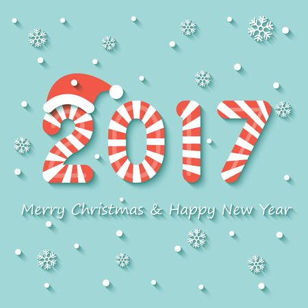 Year 2017 sign in red and white Christmas sweet style with red hat on snow and snowflakes background. Ilustração