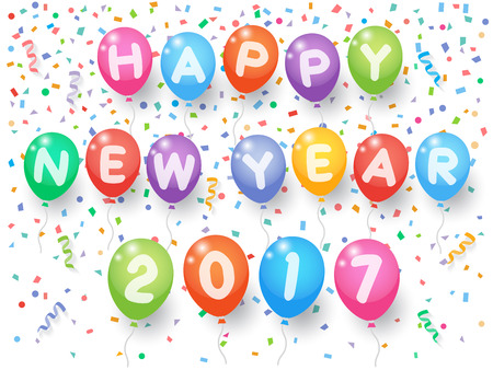 Colorful explode confetti with happy New Year 2017 balloons and ribbons on white background. Confetti for new year holiday party background. Ilustração