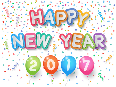 Colorful explode confetti, Happy New Year 2017 letters and balloons with ribbons on white background. Confetti for new year holiday party background.