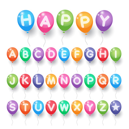 Colorful capital alphabet letter A to Z balloons on white background. Balloons for birthday, carnival, celebration, anniversary and holiday party background.