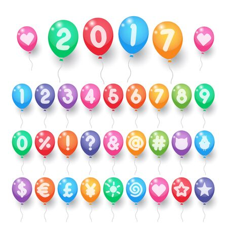 Colorful numbers and symbols balloons. Balloons for birthday, carnival, celebration, anniversary and holiday party background.