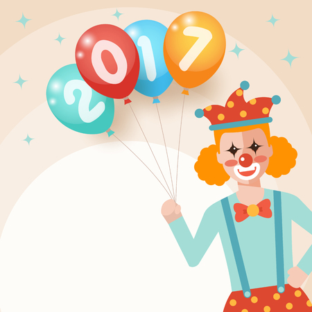 Clown holding bunch of colorful balloons with 2017 numbers printed for new year party.
