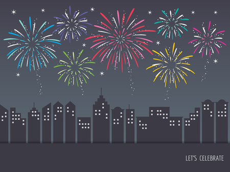 Exploding colorful fireworks display on night sky over cityscape, buildings. Fireworks for carnival, celebration, anniversary, new year and holiday party background.