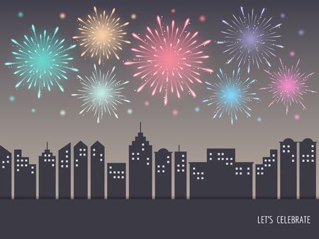 Exploding colorful fireworks display on night sky over cityscape, buildings. Fireworks for carnival, celebration, anniversary, new year and holiday party design
