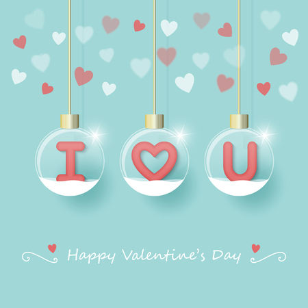 I love you letters in snow globe hanging with red, pink and white hearts design Ilustração