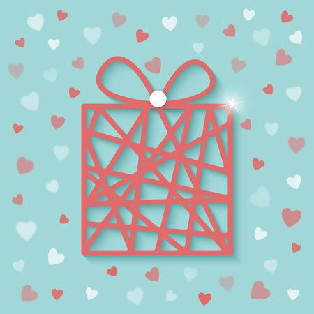 Abstract gift box for valentines day with red pink and white hearts design. Illustration