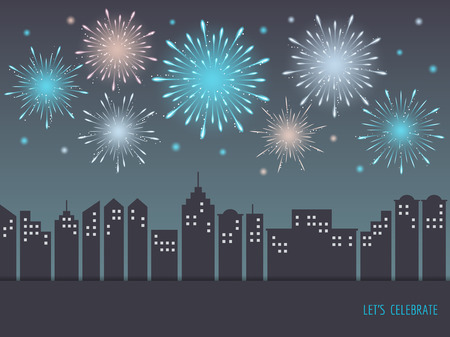 Exploding colorful fireworks display on night sky over cityscape, buildings. Fireworks for carnival, celebration, anniversary, new year and holiday party design. Ilustração