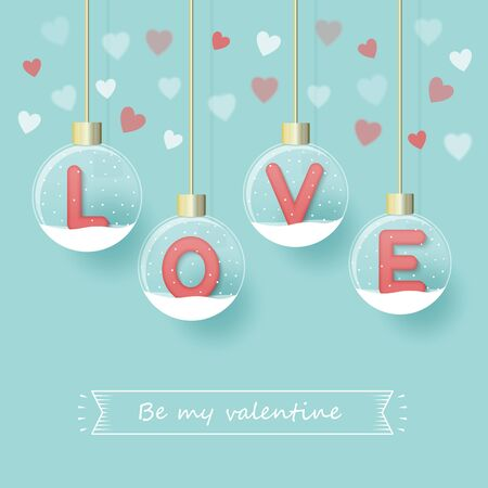 LOVE letters in snow globe hanging with red, pink and white hearts design