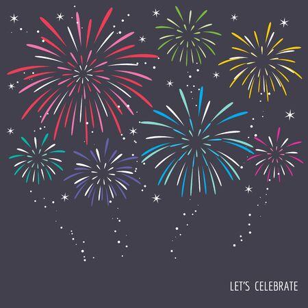 Colorful exploding fireworks on dark night design