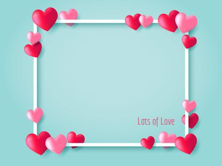 Red and pink heart balloons floating on blue background with white outline frame. Ilustração