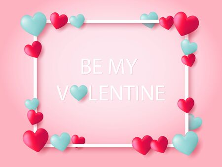 Be My Valentine letters and red and blue heart balloons floating on pink background with white outline frame. Ilustração