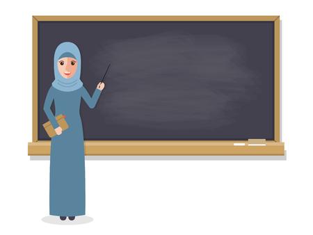 enseignant musulman, professeur debout devant tableau noir, étudiant d'enseignement en salle de classe à l'école, un collège ou une université. design plat gens personnages.