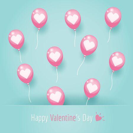 Pink heart balloons floating on blue background. Ilustração