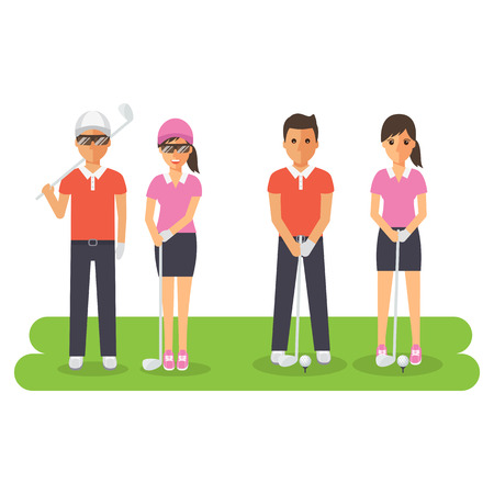 Man and woman golf sport athletes, golf players playing, teeing off and putting with golf club. Flat design people characters.
