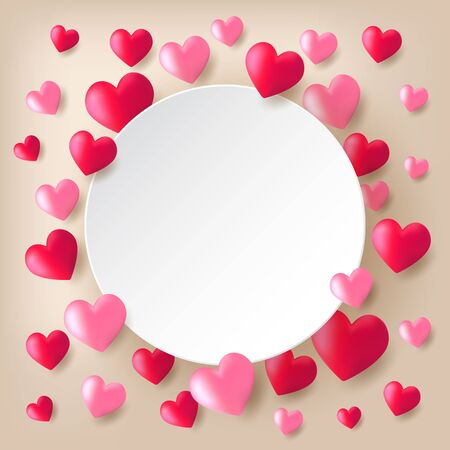 Red and pink heart balloons floating on light background with white circle paper.