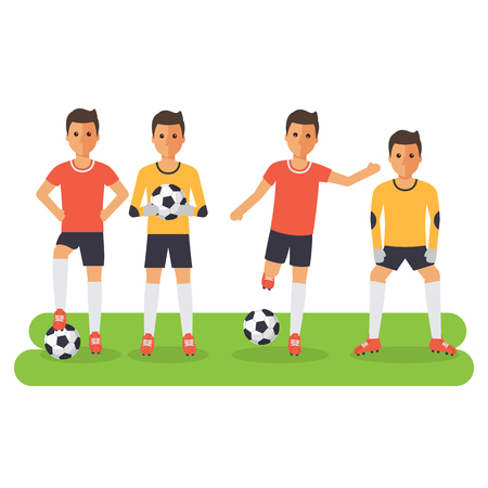 keeper: Soccer sport athletes, football goalkeeper playing, kicking, training and practicing football. Flat design characters. Illustration
