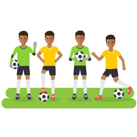 Black soccer sport athletes, football goalkeeper playing, kicking, training and practicing football. Flat design people characters.