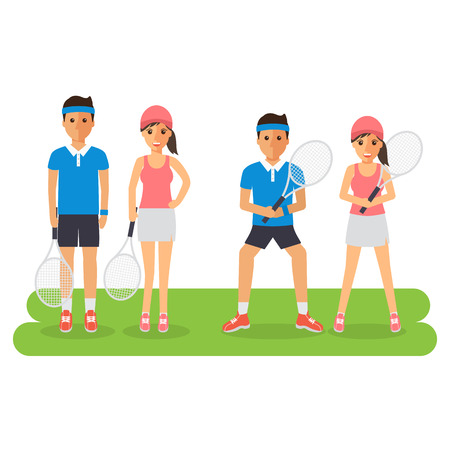 sport woman: Man and woman tennis sport athletes, players playing, training and practicing with tennis racket. Flat design people characters.