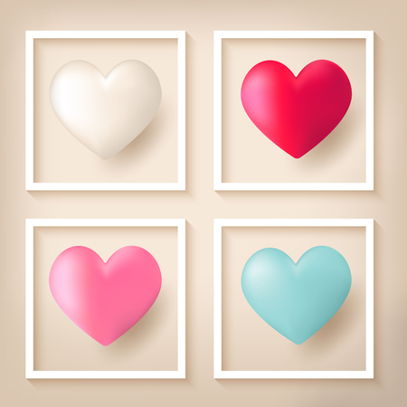 Red, pink, blue and white heart shape balloons floating on light background with white outline frame.