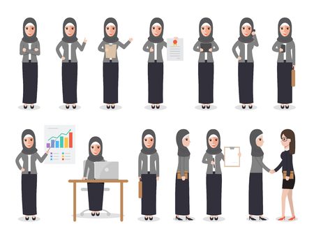 Set of Arab working people on white background. Muslim businesswoman with gadgets in flat design people characters.