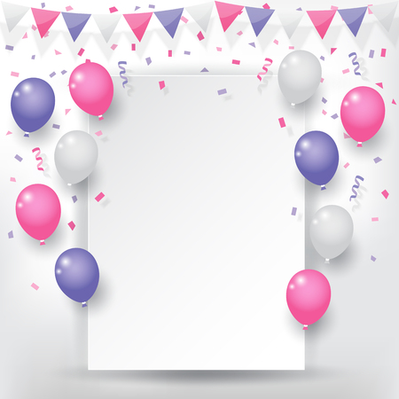 Colorful explode confetti with buntings, ribbons and balloons on white paper background. Confetti for valentines, birthday, carnival, celebration, anniversary and holiday party background. Ilustração