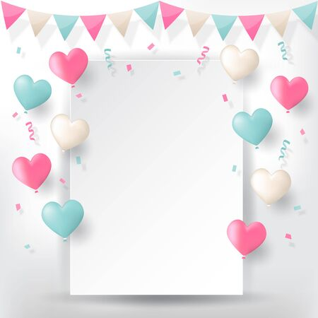 Colorful explode confetti with buntings, ribbons and love heart shape balloons on white paper background. Confetti for valentines, birthday, carnival, celebration, anniversary and holiday party background.