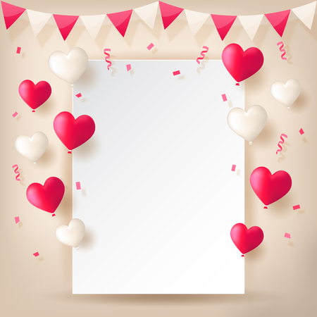 Colorful explode confetti with buntings, ribbons and love heart shape balloons on white paper background. Confetti for valentines, birthday, carnival, celebration, anniversary and holiday party.