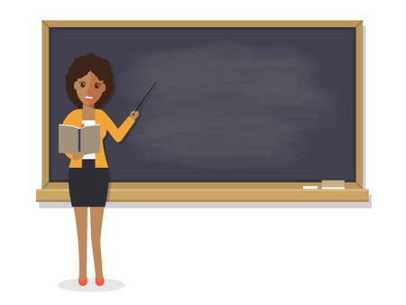 African teacher, black professor standing in front of blackboard teaching student in classroom at school, college or university. Flat design people character. Illustration