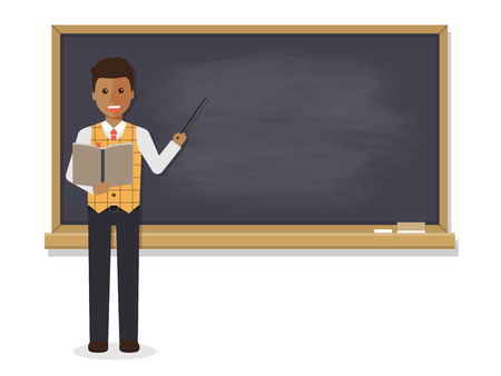 African teacher, black professor standing in front of blackboard teaching student in classroom at school, college or university. Flat design people character. 일러스트