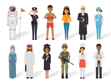 Set of diverse occupation profession people. Flat design people characters. Vettoriali