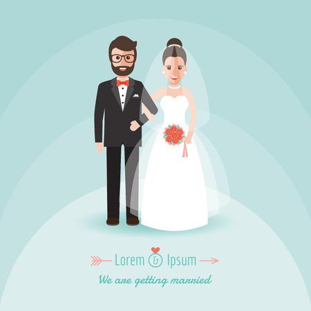 feier: Bräutigam und Braut, Paar Hand in Hand auf Hochzeitszeremonie. Illustration