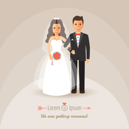 Groom and bride holding hands on wedding ceremony. Wedding invitation in flat design people characters.